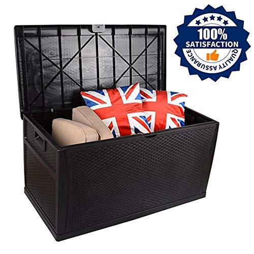 XLLLL Arcon Exterior Impermeable Caseta Depuradora Piscina Banco LeñEro Casetas De Garden Outdoor Multi-Function Jardín Gran Capacidad Rattan Deck Box 460L Negro