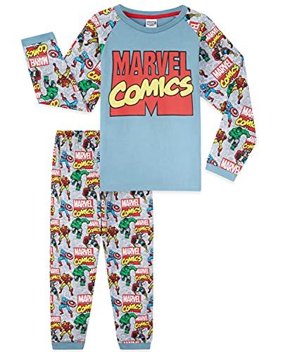 Marvel Avengers Schlafanzug Jungen, Kinder Pyjama Jungen Lang Baumwolle, Captain America & Iron Fanartikel Für Kinder und Teenager, 104-164 (11-12 Jahre, Grau, 11_Years)