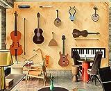 Papel Pintado 3D Piano Violín Guitarra Retro Fotomurale 3D Tv Telón De Fondo Pared Decorativos Murales Moderna