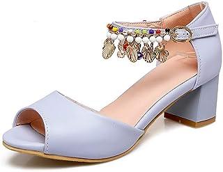 BalaMasa Womens ASL06513 Pu Block Heels