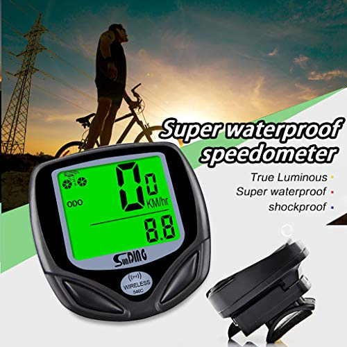 Hingpy Drahtlose Fahrrad-Fahrradcomputer, wasserdichter Tachometer Fahrrad-Kilometerzähler, 16 Funktionen, LCD-Geschwindigkeits-Tachometer, schwarz