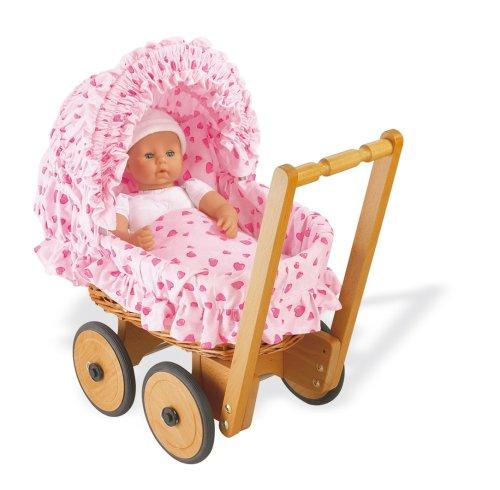 Pinolino 268305-7 - Korbpuppenwagen Mona,, komplett mit Bettzeug Herzchen rosa