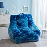 Urban Shop Supportive Faux Fur Bean Bag with Pocket, Cool Tie Dye