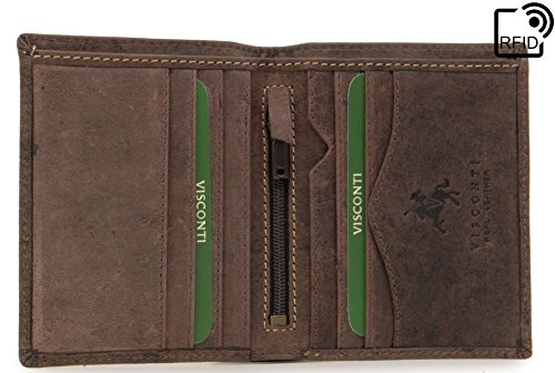 VISCONTI - Mens Wallet - Hunter Leather - Gift Boxed - 705 - Arrow - Oil Brown-RFID