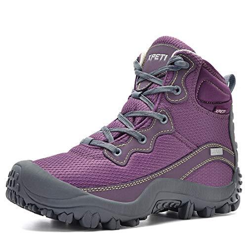 XPETI Scarpe da Trekking Impermeabili da Donna Montagna Alpinismo Mid Calzature Femminili Escursionismo Trail Scarponcini per Camminare Neve Estate Lilla 39 EU