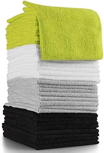 OxGord Microfiber Cleaning Cloth – 32 Pack of Thick, Lint-Free Soft Towels Best for Car Wash, Home Multi-Use, Kitchen Counter & Eye-Glasses Etc. Re-Washable Micro Fiber Rags Household Cleaner Supplies