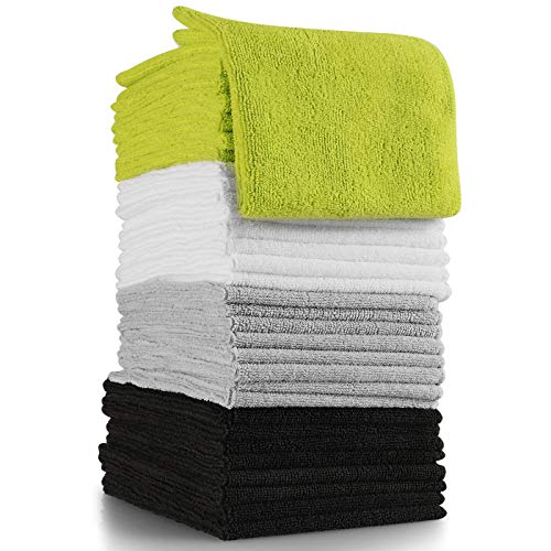OxGord Microfiber Cleaning Cloth - 32 Pack of Thick, Lint-Free Soft Towels Best for Car Wash, Home Multi-Use, Kitchen Counter & Eye-Glasses Etc. Re-Washable Micro Fiber Rags Household Cleaner Supplies