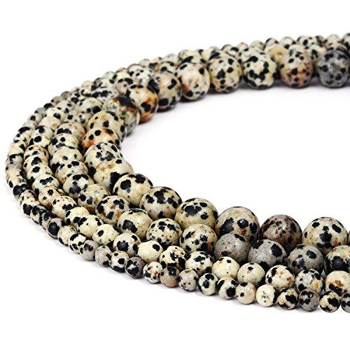 10mm Natural Dalmatian Jasper Beads Round Loose Gemstone Beads for Jewelry Making Strand 15 Inch (38-40pcs)