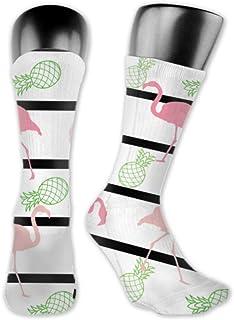 Leila Marcus, Calcetines para hombre y mujer cómodos, ligeros y sudorosos, para hombre, diseño de flamencos con rayas de pino, tamaño mediano y largo