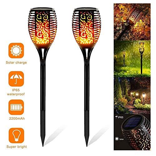 Solar Gartenfackeln 2 Stück LED Fackelleuchten mit Tanzender Flamme IP65 wasserdichte Auto Ein/Aus Solarlampe für außen (Color : 2)