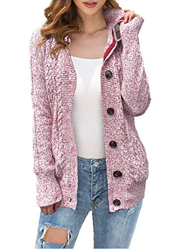 LIENRIDY Women's Button Up Cardigan Knit Hooded Cable Sweater Coat Outwear Red with White XL
