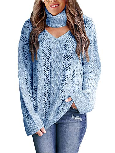 Womens Plus Size Sexy V Neck Sweaters Turtleneck Choker Tops Oversized Cable Knit Chunky Pullover Light Blue