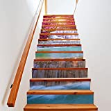 Pegatinas de Escalera 13pcs / Set Landscape Waterfall Stair Floor Pegatinas impermeables extraíbles autoadhesivo Diy Escalera Calcomanías Murales Decoración del Hogar 20
