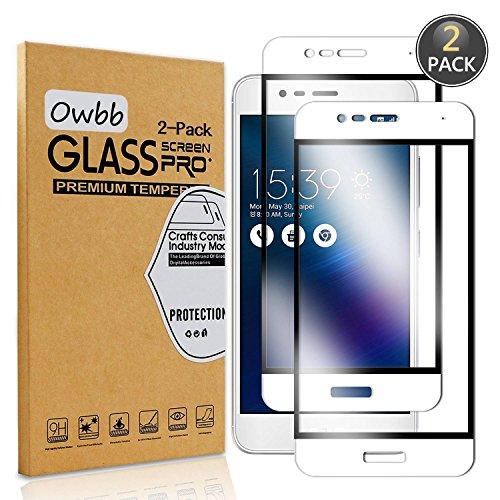 [2 Stück] Owbb® Weiß Gehärtetes Glas Bildschirm schutzfolie Für Asus ZenFone 3 Max (5.2 zoll) ZC520TL Full Coverage Schutz 99prozent High Transparent Explosionsgeschützter Film