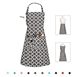 LessMo Bib Apron, Canvas Cotton Cooking Aprons for Women Men, Adjustable Neck strap with 3 Pockets, 100% Cotton, Professional Quality 65 x 85 cm, for Chef Restaurant, Kitchen, BBQ (Dark Gray)
