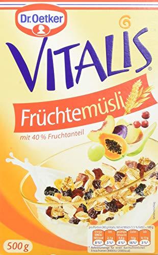 Dr. Oetker Vitalis Früchtemüsli, Müsli für Frühstück & Zwischendurch, hervorragend mit Milch, Joghurt oder Obst, 4er Packung (4 x 500g)