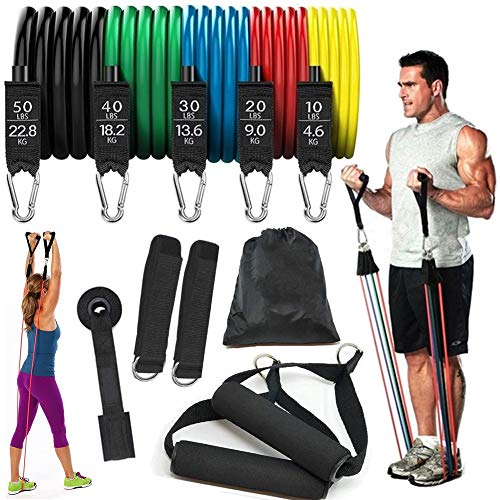 11 Pcs Resistance Bands For Full Workout,Yoga With Handles Bag,Anchor/&Ankle Str