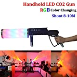 AZALMU Handheld CO2 Cannon Gun 7 color LED Stage special Effect Manual operation Max 22 ft Spray Distance for Bar Weddings Halloween DJ Club