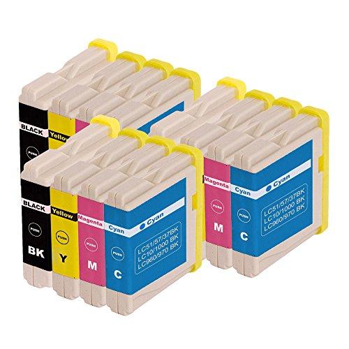 12 kompatible Patronen Ersatz für Brother LC970 LC1000/DCP (3 x LC 970BK - 3 x LC 970 C - 3 x LC 970Y - 3 x LC 970 M)