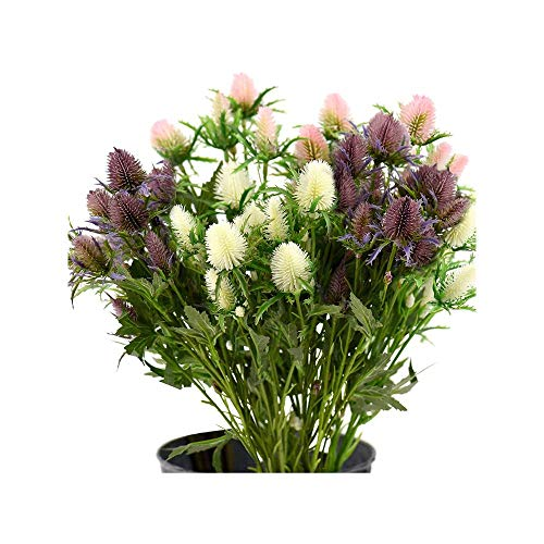 Maywu echte Größe künstliche Distel Blumen fühlen sich echt an 8 Stiele rustikal blaue Distel Dekor | Seestolch für Hochzeitsstrauß Mittelstück 66 cm, rustikal weiß, rosa und lila
