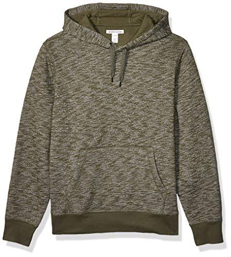 Amazon Essentials Men's Hooded Fleece Sweatshirt, Olive Space-Dye, Large