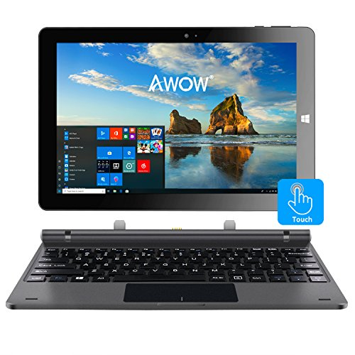 10.1' Touch Screen Tablet PC 2-in-1 Laptop with Windows 10, Intel X5-Z8350, Quad-Core, 1.44Ghz, IPS HD 1280 X 800, 4GB&64GB, Dual Webcam, Wi-Fi, Bluetooth 4.0, Micro HDMI, Micro SD, USB, Keyboard