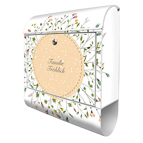 Banjado Design Briefkasten personalisiert mit Motiv WT Blumenkranz | Stahl pulverbeschichtet mit Zeitungsrolle | Größe 39x47x14cm, 2 Schlüssel, A4 Einwurf, inkl. Montagematerial