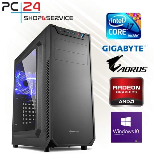 PC24 GAMING PC | INTEL i7-8700K @6x4,50GHz | 250GB M.2 970 EVO SSD | AMD Radeon RX 580 mit 8GB RAM | 16GB DDR4 PC2666 RAM | GA Z370 AORUS Ultra Gaming Mainboard | 600Watt 80+ ATX Netzteil | Windows 10 Pro | i7 Gamer PC