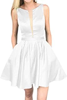 Botong Women's Sexy A Line Satin Sleeveless Short Homecoming Dresses with Pockets