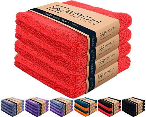 WERCH® 4X randloses Microfasertuch für Autopflege - Ultraweich und Lackschonend Dank 400 GSM - Mikrofasertücher für Auto Politur - 40x40 cm Poliertuch für Autolack (Rot)
