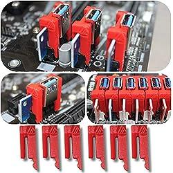 Aiyas3D [6 unità] PCI Riser Lock Clip – Assicurare 1 x PCI mineria Ethereum, Bitcoin, Ravencoin alla scheda base/evita disconnessioni! / Mining Rig AMD RX 570, 580, 470, RTX 3060ti, 3080, 3070