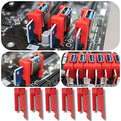 Aiyas3D [6 Unidades] PCI Riser Lock Clip - Asegurar Extensor 1x PCI mineria Ethereum, Bitcoin, Ravencoin a la Placa Base/Evita desconexiones! / Mining Rig AMD RX 570, 580, 470, RTX 3060ti, 3080, 3070