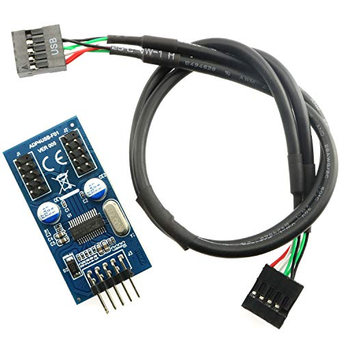 Magic&Shell 1 PC Motherboard USB 2.0 9-Pin Header 1 zu 2 Male Splitter Port Multiplier Verlängerungskabel Karte mit 30 cm Verlängerungskabel
