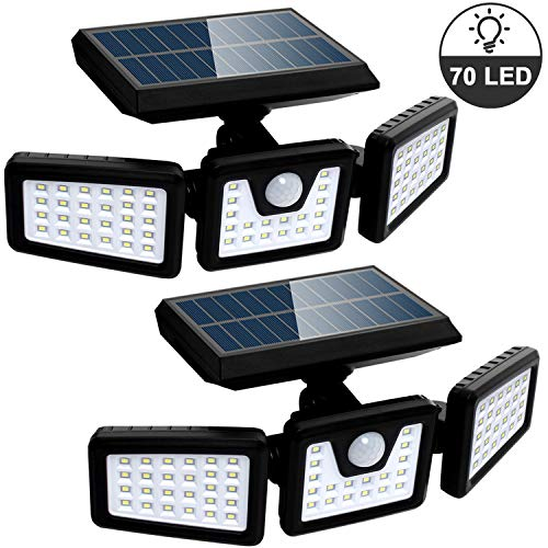 Solar Lights Outdoor with Motion Sensor, 3 Heads Security Lights Solar Powered, 70 LED Flood Light Motion Detected Spotlight for Garage Yard Entryways Patio, IP65 Waterproof 2 Pack