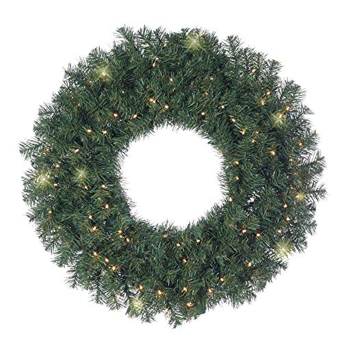 22 Inch LED Lighted Artificial Christmas Norway Pine Wreath, Battery Operated with Timer and Function Mode, Warm White Compact Lights