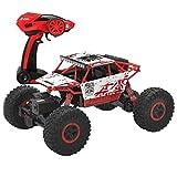 deAO RC Voiture Tout Terrain Rock Crawler 4x4 Radio Commande 1:18 4WD 2.4GHz Sync System Pour le Mode Multi Joueur (Rouge)