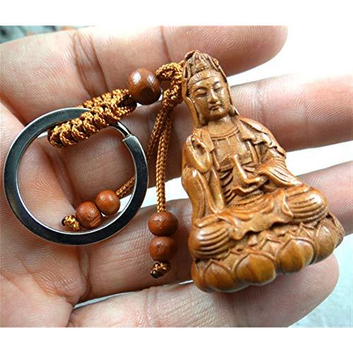 WGD Foxi 1 Stücke Natürliche Mahagoni Guanyin Skulptur Keychain, Dreidimensionale Buddha-Statue Schlüsselanhänger, Guanyin Buddha Schlüsselanhänger Für Autozubehör
