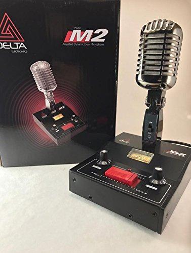 BLACK CHROME DELTA M2 AMPLIFIED DYNAMIC POWER BASE MICROPHONE 4 pin Cobra CB HAM MIC