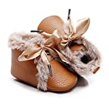 Bebila Winter Toddler Snow Boots - Lace up Baby Girls Boys Shoes Lace up Non-Skid Soft Sole Slippers Newborn Warm Ankle Fur Booties for Infant Newborn First-Walkers (0-3 Months, Brown)