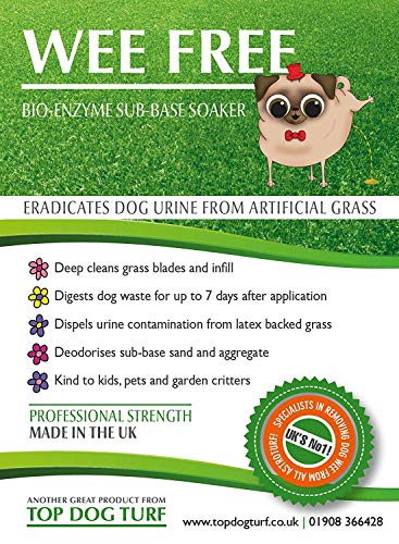 WEE FREE 5 Ltr Artificial Grass Cleaner and Pet Odour Eliminator for Dog Urine - Disinfectant, Neutraliser and Deodoriser for Dog Wee on Astro Turf and Fake Lawns. Safe for Dogs and Animals. 5