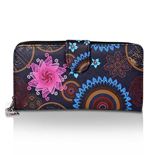 Glamexx24 Geldbörse mit Blumen Muster, Portemonnaie Vintage Design Brieftasche Geldbeutel