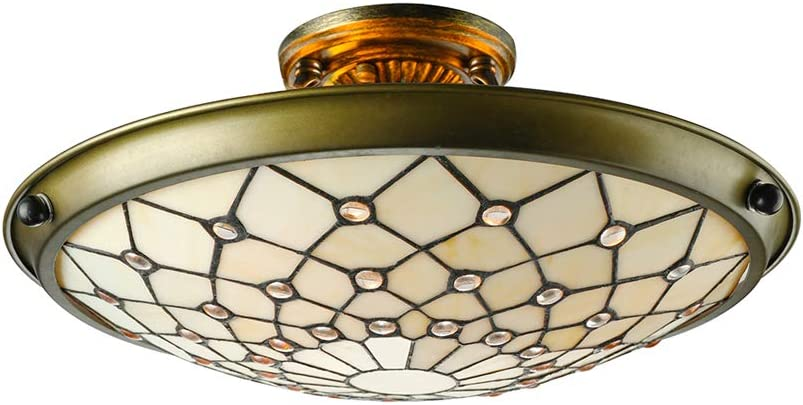 LITFAD Tiffany Style LED Ceiling half Stained Metal Lamp Beige trust Decor