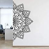 wZUN Sticker Mural en Vinyle Demi Mandala Fleur décalcomanie Chambre Yoga Papier Peint Maison Classique Mandala décoration 126X63 cm