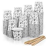 140 Vasos Carton Desechables para Café Espresso 110 ml con Agitadores de Madera para Café para...
