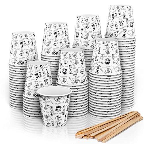 CupCup 140 Espresso Pappbecher 110 ml mit Rührstäben aus Holz für Kaffee zum Mitnehmen