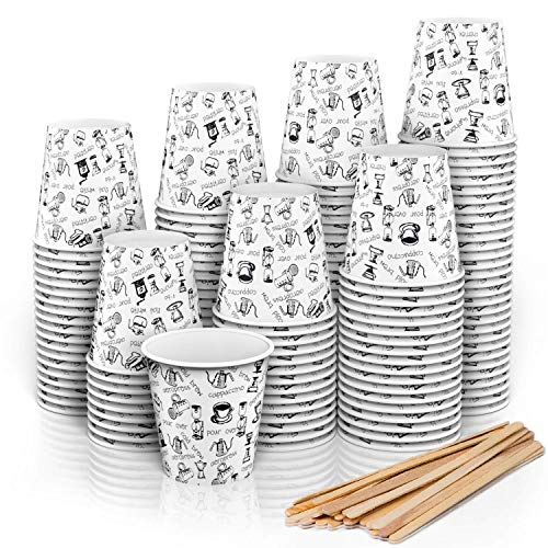 140 Vasos Carton Desechables para Café Espresso 110 ml con Agitadores