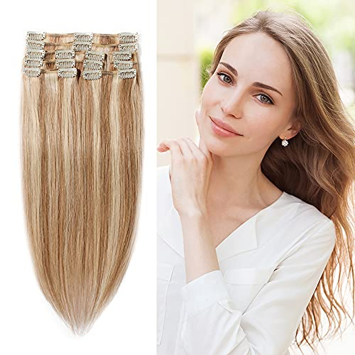 """#12/613 Clip in 100% Remy Human Hair Extensions 8""""-24"""" Grade 7A Quality Full Head 8pcs 18clips Long Straight for Women Fashion 18"""" / 18 inch 100g ,Light Brown with Bleach Blonde"""