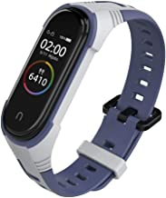 KOMI Silicone Replacement Strap, Two-Color Sport Adjustable Smart Bracelet Watch Wristband Compatible with Mi Band 5/4/3 S...