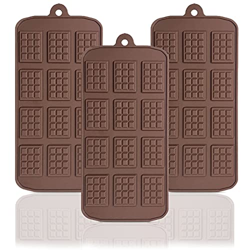 Silicone Break Apart Chocolate Mold, 12-Cavity Silicone Mini Rectangle Thin waffle Chocolate Molds Non-Stick Candy Protein and Energy Bar Mold Baking Tray - 3 Pack