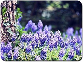 ムスカリの花、ブルー、森、木 パターンカスタムの マウスパッド 植物・花 (26cmx21cm)